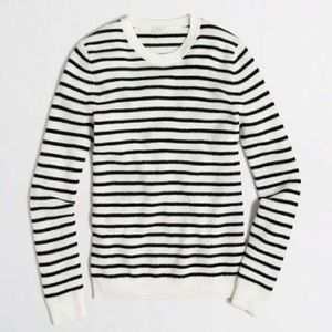 J. Crew Black and White Striped Waffle Sweater